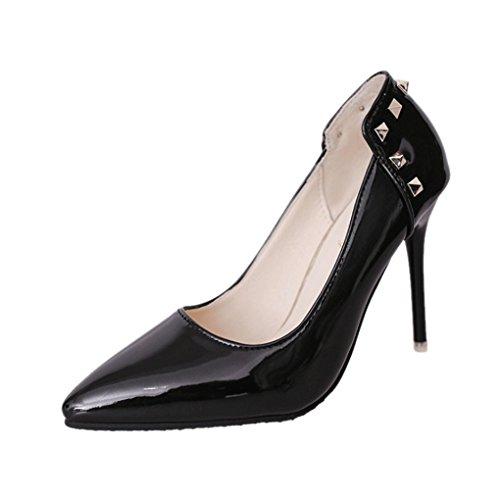 LBDX Zapatos de Tacón Alto de Tacón Bajo, Banquete Zapatos de Tacón Alto de Tacón Alto, Delgado, Sexy, Para Mujer Negro