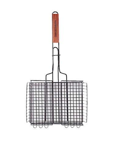 Adjustable Grill Rack - Charcoal Companion Non-Stick Rectangle Grilling Basket with Rosewood Handle