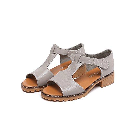 XIAOLIN サンダルで荒い女性の夏のセクションの靴Tendonの底魚の口の開いたつま先 (色 : 白, サイズ さいず : EU37/UK4.5-5/CN37)