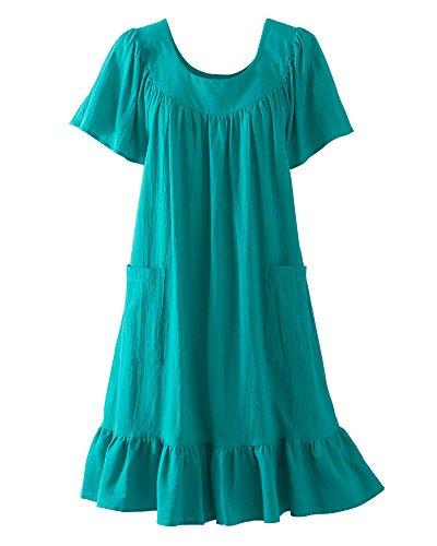 National Crinkle Cotton Dress, Jade, X-Large (Robe Gauze Over)