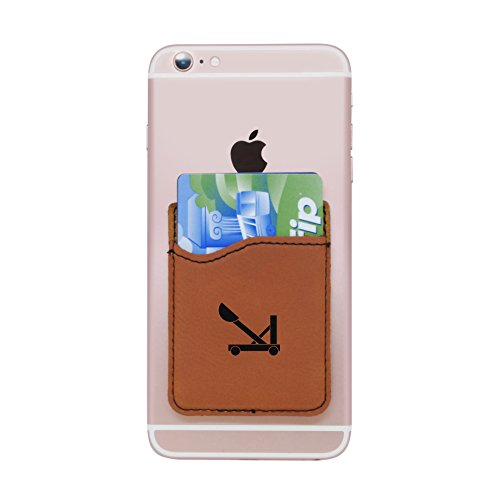 Catapult Design (MODERN GOODS SHOP Brown Self-Adhesive Wallet With Laser Etched Catapult Design - Credit Card Pocket For 3 Cards - Fits Most Smartphones)