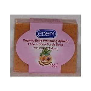 Eden Organic Extra Whitening Apricot Face & Body Scrub Soap 150G