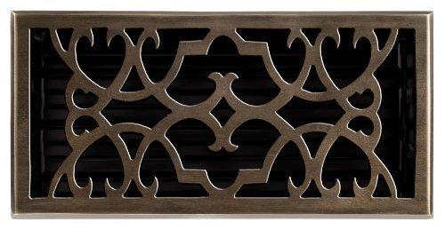 Brass Elegans 120HR-AB Solid Cast Brass Victorian 6-Inch by 12-Inch Floor Register, Antique Brass Finish Model by Brass Elegans ()