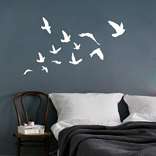 Flying Birds Wall Decal, Birds Wall Sticker, Flying Birds Set of 12 Vinyl Wall Decal for Office Home Decor Room Art, Flying Birds Sticker (White)