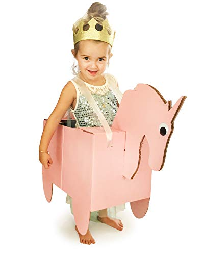 Sparkles The Unicorn Cardboard Costume - Pretend Play for Girls | Cute Dress Up | Fun Family DIY Art Project - Kids Size Ages 3 and up -