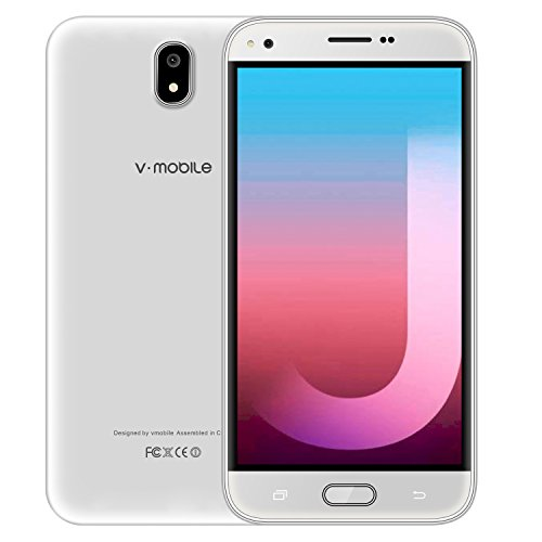 Unlocked Cell Phone Cheap, Factory v mobile J5-N Smartphones with 5.5 inch QHD Display|Android 7.0|Dual Sim + Micro SD Card supported|1GB RAM + 8GB ROM| White by v mobile