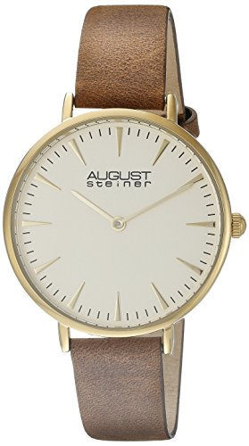 August Steiner Women's AS8187 Gold-Tone Watch with Brown Leather Band