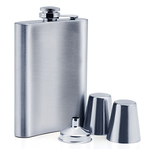 Glass Hip Flask (LIHAO 8oz Stainless Steel Hip Flask with 1 Funnel and 2 Shot Glasses)