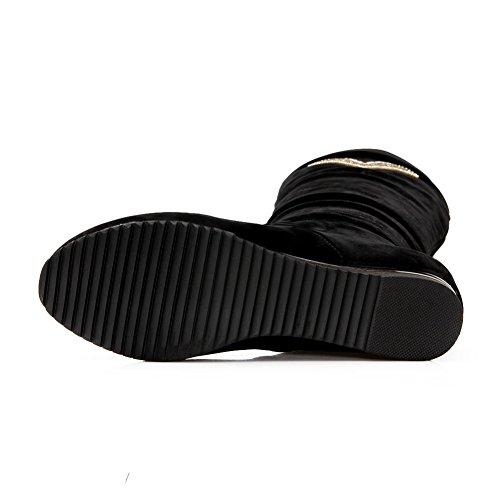 AdeeSu Womens Casual Slip-Resistant Rhinestones Urethane Boots SXC02350 Black 5erQ6k8vPN