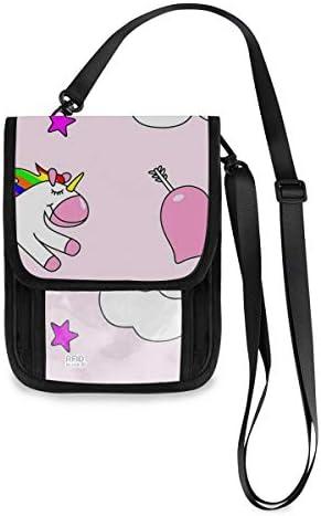 トラベルウォレット ミニ ネックポーチトラベルポーチ ポータブル かわいい ユニコーン ピンク 小さな財布 斜めのパッケージ 首ひも調節可能 ネックポーチ スキミング防止 男女兼用 トラベルポーチ カードケース