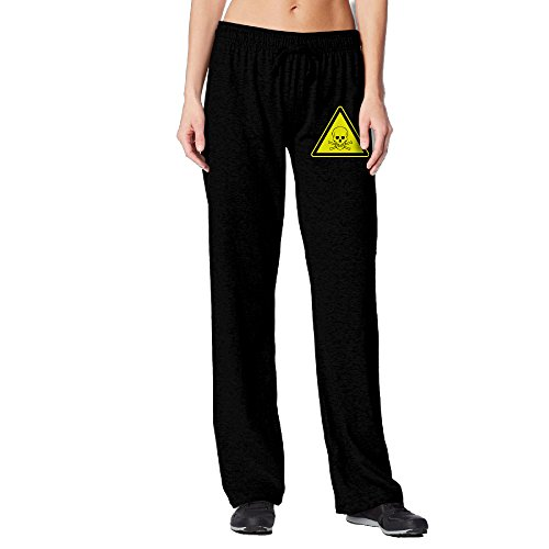 BakeOnion Women's Skull Hazard Warning Labels Jogger Sweatpants L (Santa Suit Ebay)