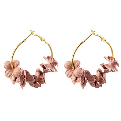 Super Cute Earing Fashion Fabric Flower Drop Earrings For Women 2019 Colorful Petal Circle Big Fancy Earring Jewelry,Pink Flowers