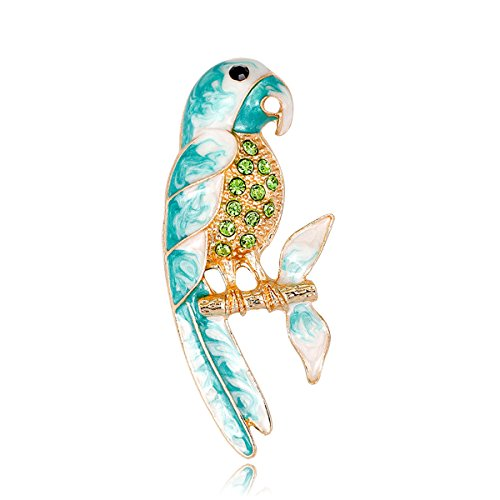(YOQUCOL Cute Green CZ Crystal Parrot Brooch Pin Bird Accessory Enamel for Women Girls)