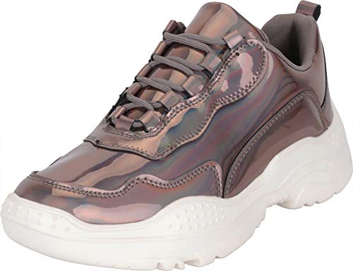 Cambridge Select Women's 90s Ugly Dad Iridescent Holographic Lace-Up Chunky Fashion Sneaker,6 B(M) US,Pewter Hologram