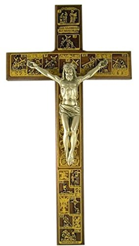 The Stations of the Cross Wooden Wall Crucifix, 12 Inch