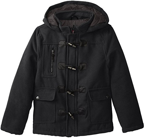 YMI Big Boys' Hooded Wool Coat with Toggle Buttons, Black...