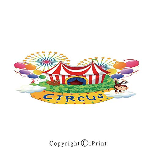 Circus Decor Large Premium Quick Dry Cotton & Microfiber Bath Towel,Carnival with a Circus Signboard Cirque Leaves Plants Fireworks Monkey,for Travel Sports & Beach,W55.1 x L27.5