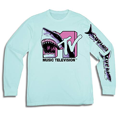Retro 1980s Shirt - MTV Mens Long Sleeve Shirt - #TBT Mens 1980's Clothing - I Want My T-Shirt (Pool, X-Large)
