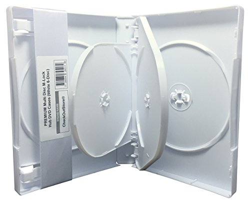 - CheckOutStore (104) Premium Multi Disc with Patented M-Lock Hub DVD Cases (6 Disc - White)