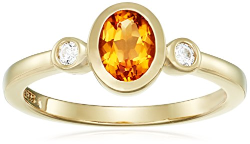 Yellow-Gold-Plated Sterling Silver Oval-Shape Citrine and Swarovski Zirconia with Textured Finish Ring, Size ()