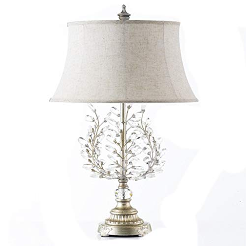 American Modern Table Lamp, Wrought Iron Twig Crystal Desk Lights for Bedroom Living Room Bedside Table Hotel Office Reading, E27, 42x72cm (Color : B)