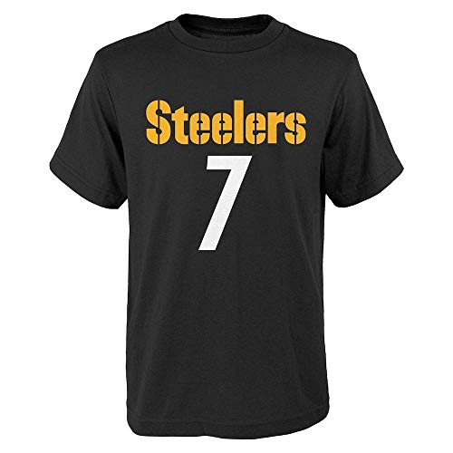 Outerstuff Pittsburgh Steelers Ben Roethlisberger #7 Youth Black Mainliner Name and Number T-Shirt (Youth X-Large 18/20)