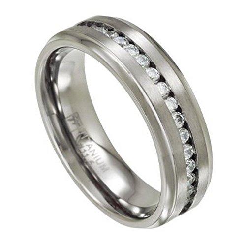 Channel Set Czs Ring (Men's 7mm Eternity Titanium Wedding Ring with Channel-Set CZs Size 12)