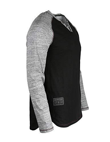 00ae24ebb72b ZIMEGO Mens Long Sleeve Baseball Raglan V-Neck Henley Round Bottom T-Shirt