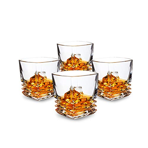 Glass Drinking Rocks (KANARS Pacific Whiskey Glasses set of 4. Premium Lead Free Crystal Rocks Tumblers for Bourbon Tasting or Scotch Drinking. Dishwasher Safe)