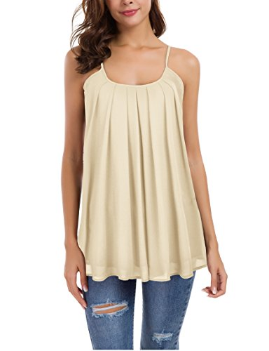 Le Vonfort Women's Chiffon Dressy Sleeveless Tunics, Double Layers Ladies Everyday Cami Tops Sleeveless Shirts Maternity Camisoles Apricot XX-Large (Layer Double Cami)