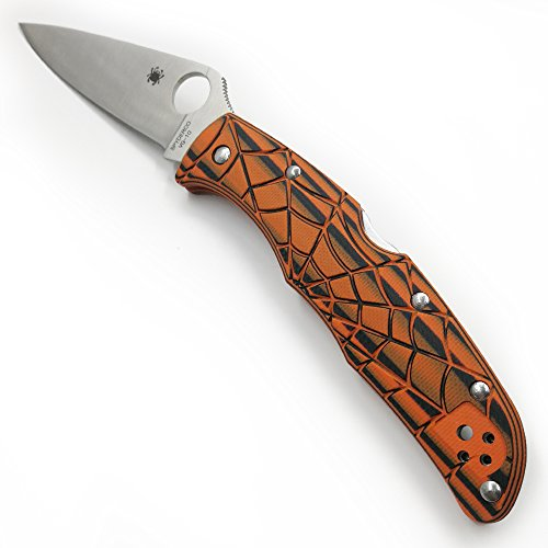 Cool Hand Custom Scales and Back Spacer for Spyderco Endura 4 Knife Handle, Spider Web Texture, Pumpkin Orange G10 (Back Spacer Included)