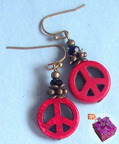 Carved Red Peace Sign Howlite Earring Bronze French Hook Artisan Earrings For Women Set + Gift Box For -