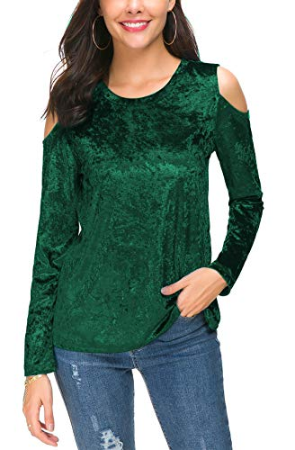 DGMYG Womens Velvet Cold Shoulder Pullover Tunic Tops Long Sleeve Loose Shirts Blouse M -
