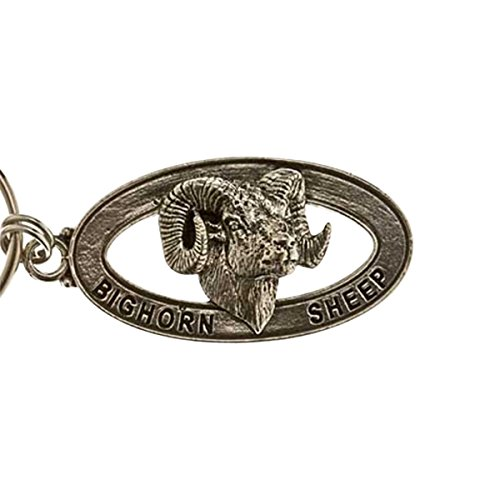 Creative Pewter Designs, Pewter Bighorn Sheep Key Chain, Antiqued Finish, MK026 by Creative Pewter Designs