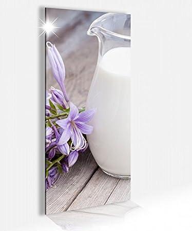 Amazon.de: Acrylglasbild 40x100cm Milch Kanne weiß lila Blumen ...