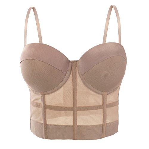 She'sModa Women's Mesh Breath Push Up Bustier Crop Top Club Party Vest XL Size Khaki