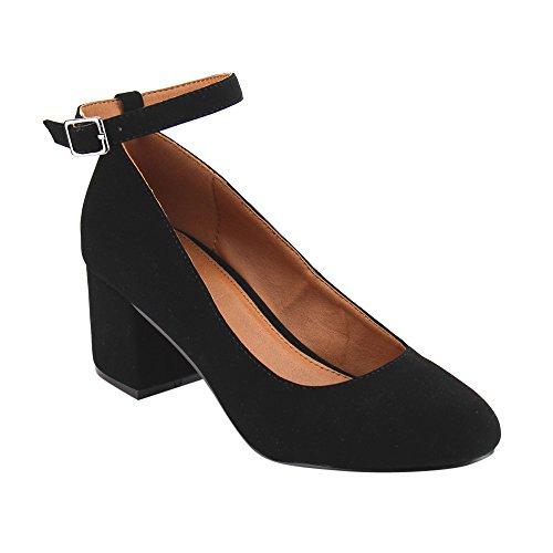 Ankle Strap Pump Shoes (BONNIBEL GF46 Women's Buckled Ankle Strap Mid Block Heel Dress Pumps, Color:BLACK, Size:7)
