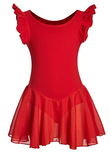 Girls Dance Ballet Leotard Flying Short Sleeve Flowy Tutu Skirt Children Cotton Dress Dancewear(10-12,Red) -