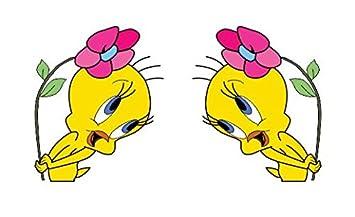 a1532b99d50 2Stk Tweety Flores pájaro pegatinas 12 cm Logo dibujos animados Auto ...