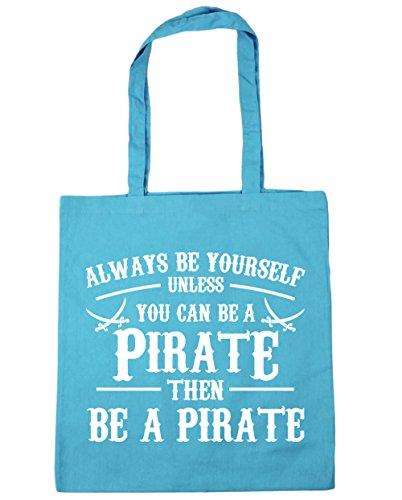 HippoWarehouse Always be du selbst es sei denn you can't Be a Piraten Einkaufstasche Fitnessstudio Strandtasche 42cm x38cm, 10 liter - Surfen Blau, One size