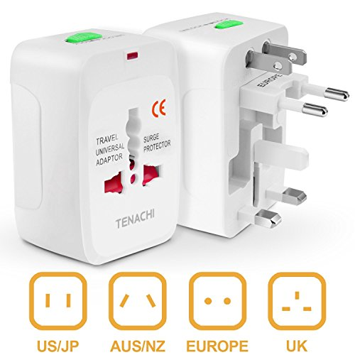 Universal Travel Plug Power Adapter TENACHI Built-in Surge Protector All in One Power Outlet Wall Charger Adaptor Works in 150 Countries EU UK US AU