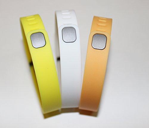 Set Large Size 1 White 1 Lemon 1 Orange Rubber Bands (With Clasps) for Fitbit Flex Bracelet Tracking Exercise Activity Sport+1 Free Gift Waterproof Sunglasses, Eyeglasses Soft Pouch Bag Case/ Random Color/ by NICKSTON (Image #2)