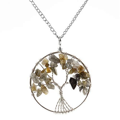 - Top Quality Tree of Life Chakra Pendant Necklace Natural Labradorite Gemstone Chakra Jewelry 26