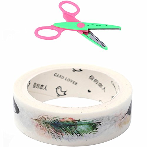 MAXGOODS 3 Roll Washi Tape,Decorative Masking Tape Collection for DIY Craft Accessory Scrapbooking Gift Wrapping Office Party Supplies with Free Laciness Scissors (Feather) ()