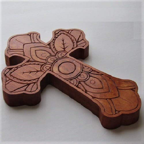(Handmade Wooden Carved Mandala Cross For Wall Décor)