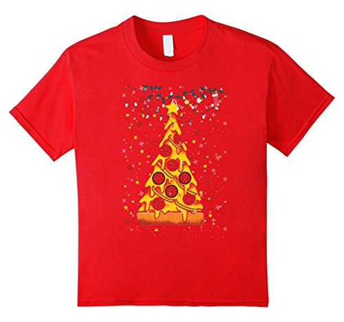 Kids Funny Pizza Ugly Christmas Sweater Xmas Pizza Tree GIft 10 Red ()