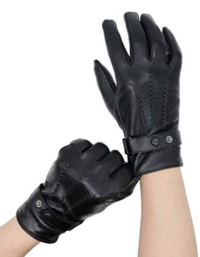 - KAIROU Leather Touchscreen Gloves Vintage Finished Driving Dress Genuine Lambskin (M, Black)