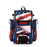 Boombah Rolling Superpack 2.0 Baseball/Softball Gear Bag - 23-1/2' x 13-1/2' x 9-1/2' - USA Baseball Royal/Red/White - Telescopic Handle - Holds 4 Bats - Wheeled Version
