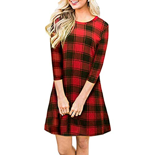 - Kauneus  Women's Long Sleeve Plaid Color Block Diamond Casual Swing Loose Fit Tunic Dress Red
