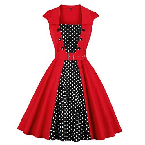 (Rakkiss Women Vintage Skirt Dot Print Solid Splice Hepburn Skirt Button Party Swing Dress A-Line Elegant Midi Dress Red)